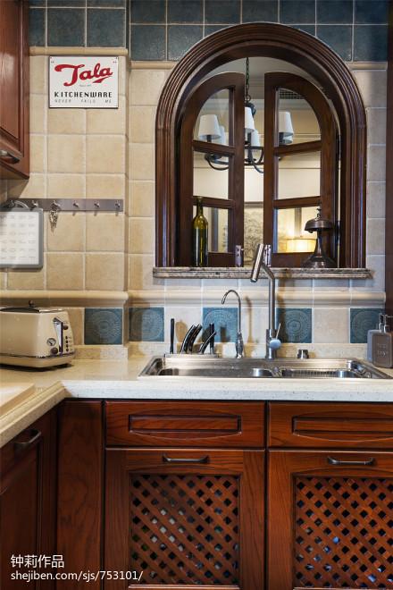 精美美式三居厨房装修设计效果图片