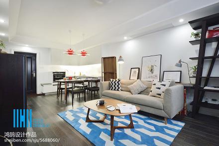 面积90平北欧二居客厅装修图片
